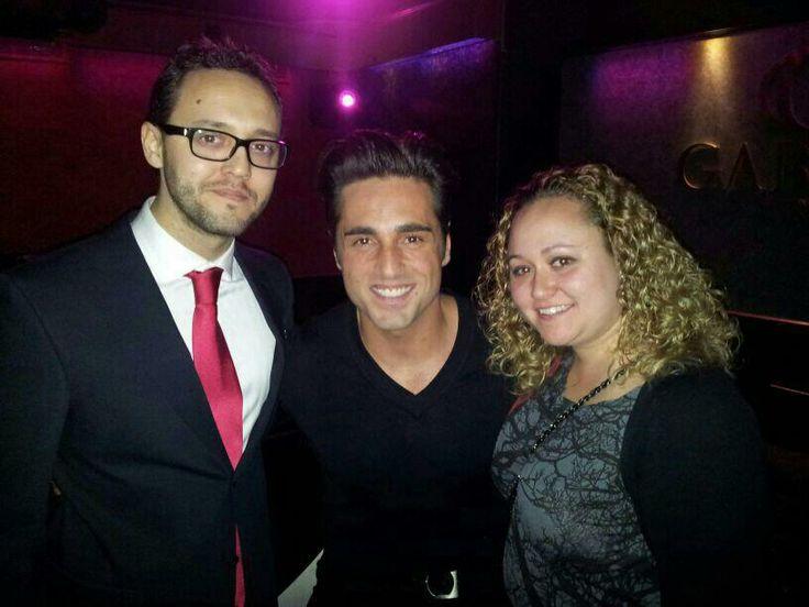 Con mi hermana y David Bustamante en Gabbana