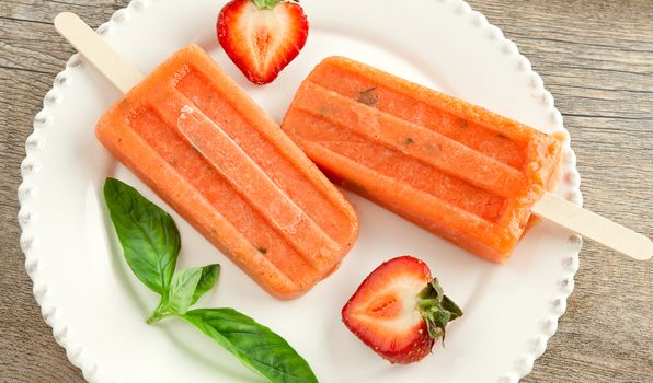 Mango Strawberry Ice Pops - Don't forget the basil for a hit of freshness.