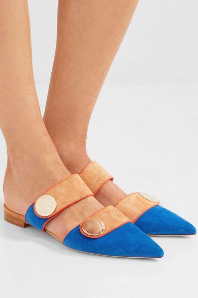 Malone Souliers - Roksanda Lee Color-block Suede Slippers - Blue - IT