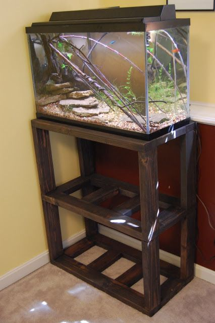 Aquascaping Art: DIY Aquarium Stand Plans - Only do 1 level and make it fit around the dog crate - tads cage on top