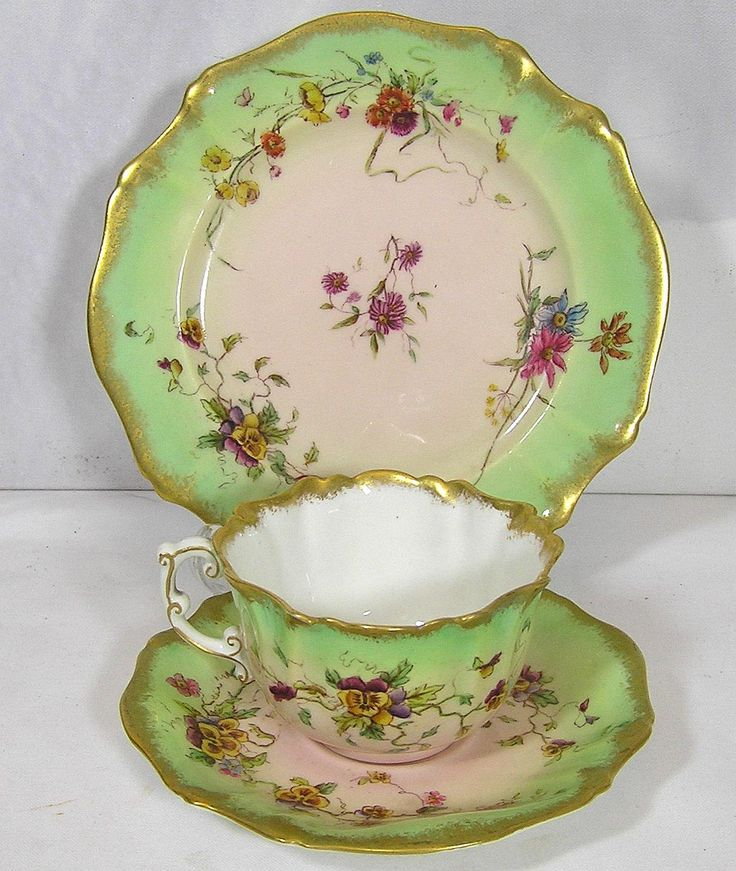 Art Deco Fine bone china Victorian 1889 Pastel Pink and Green Tea Set of Tea Cup, Saucer, Side Plate by TheMewsCottage on Etsy