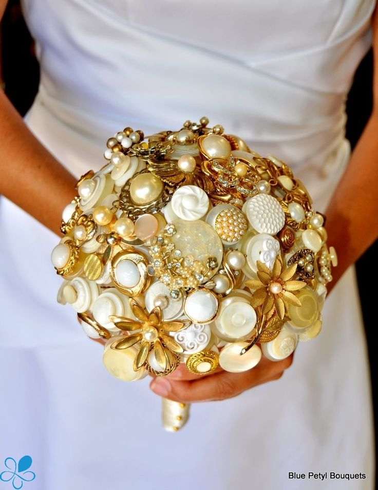 Gold Pearl Button Bouquet BroochBouquet Bridalbouquet