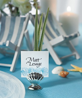 shell silver place card holders package of 8