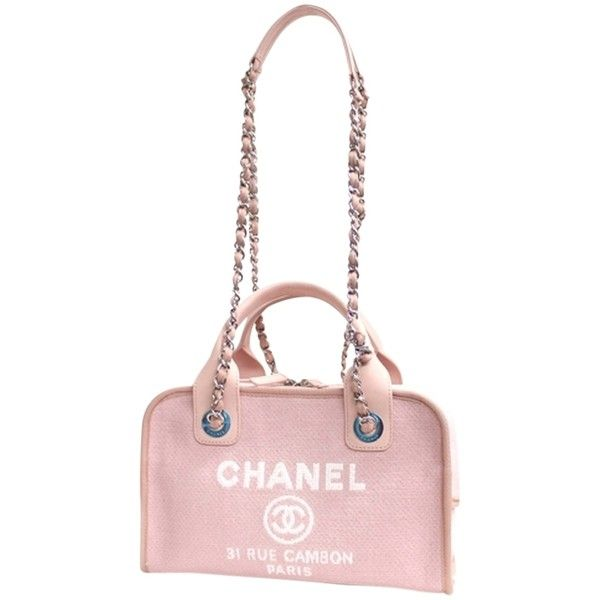 Pre-owned Chanel Deauville 2way Bowling Shoulder Bag (45.498.650 VND) ❤ liked on Polyvore featuring bags, handbags, shoulder bags, pink, chanel shoulder bag, bowler bags, pink purse, white shoulder bag and pink shoulder bag