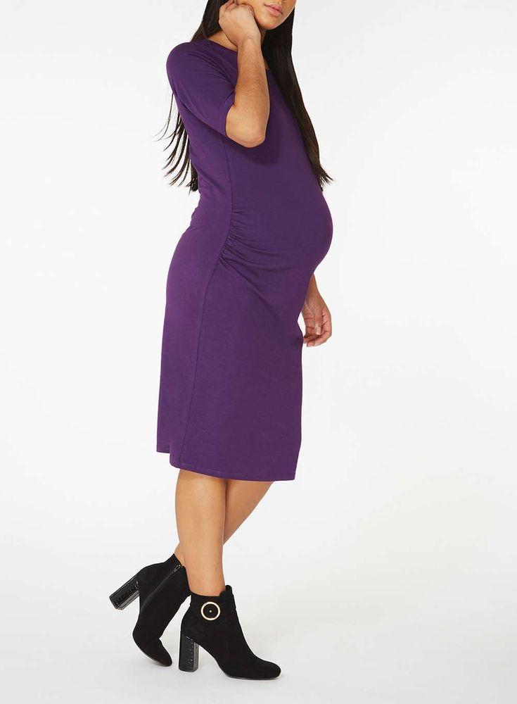 Womens **Maternity Purple Bodycon Dress- Purple