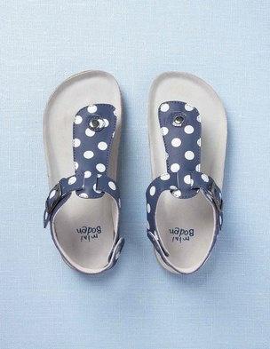 petites sandales en cuir bleu roi / pois blancs...by Miniboden
