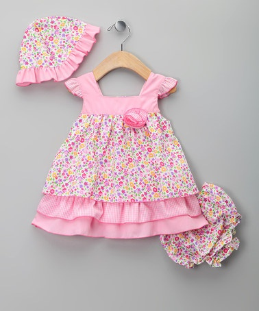 Take a look at this Pink Floral Tiered Dress Set by Sweet Elegance on #zulily today!