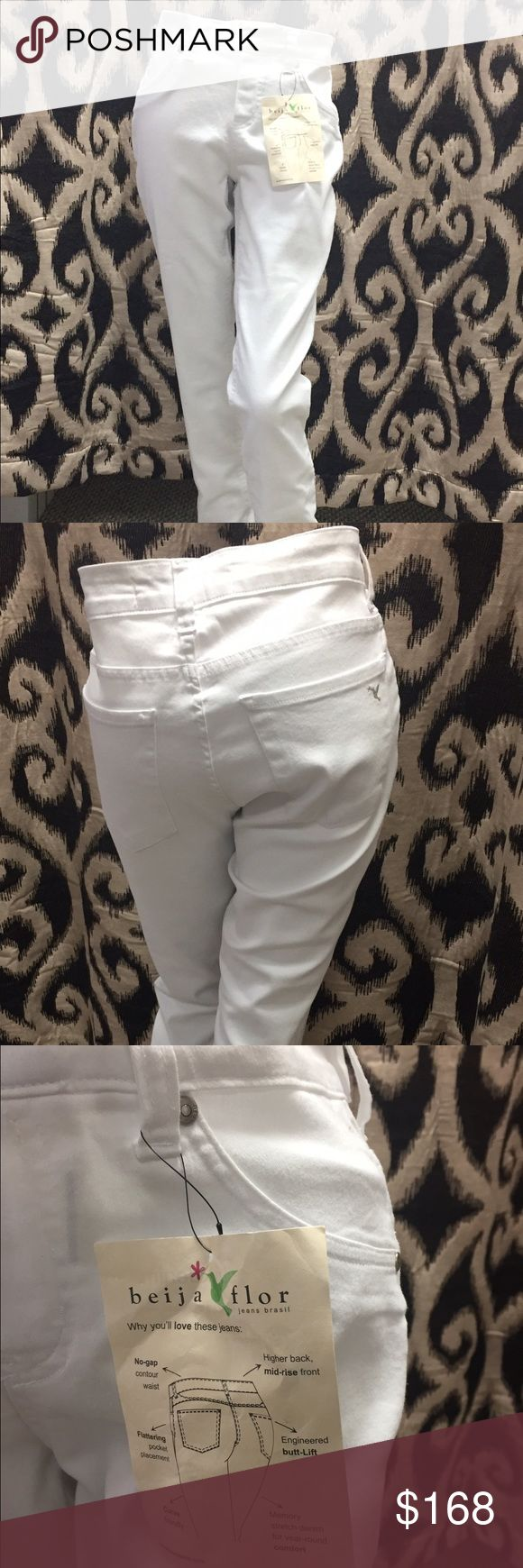 "Beija Flor Jeans Pull on Beija Flor Kelly  skinny white Jeans made in Brazil. Two front and two back pockets. Best fitting jeans ever. Has been featured on ""Golden Globe "" & ""Oprah Magazine "". beija flor Jeans Skinny"