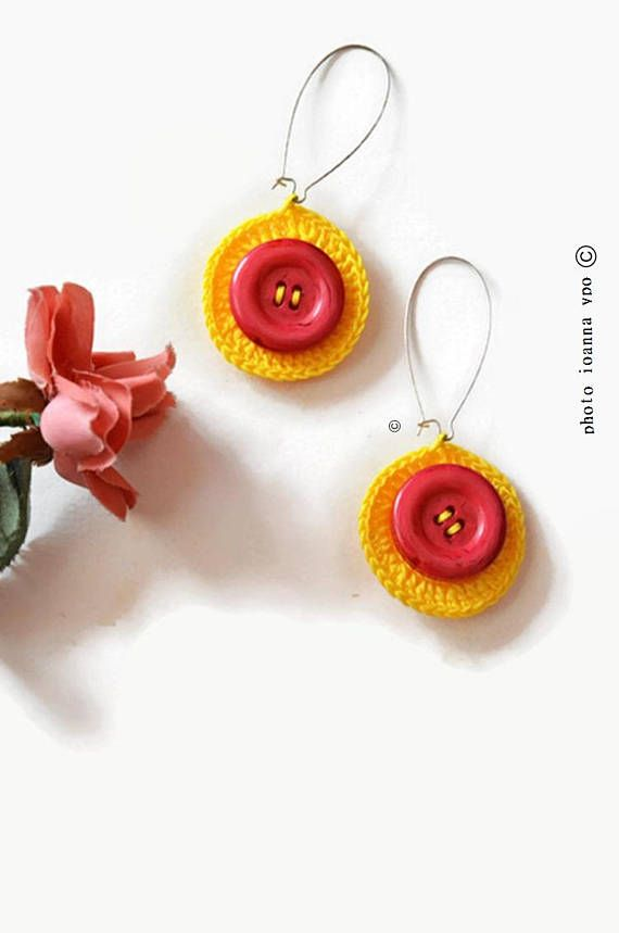 Yellow crochet medium circle earrings with rose red buttons