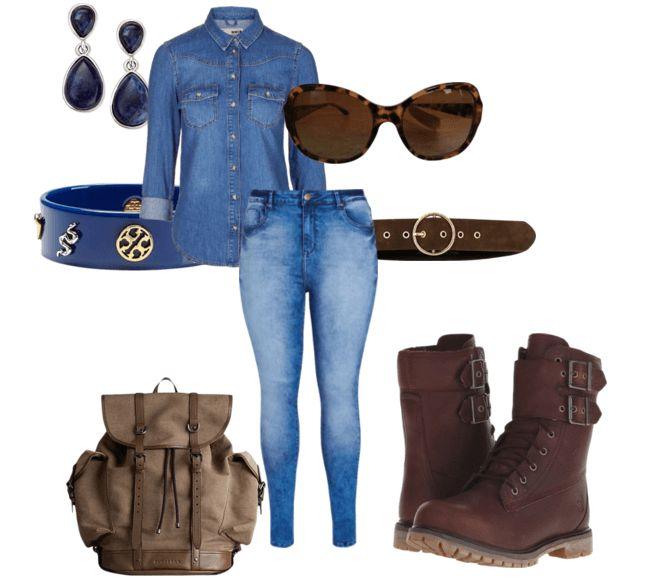 Коричневые ботильоны, синие джинсы, рубашка джинсовая, рюкзак, пояс, очки, серьги, браслет