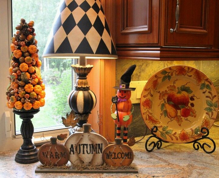 cute mixture of fall decorations and halloween decorations savvy seasons by liz fall kitchen tour love the pumpkin tree - Fall Halloween Decorations