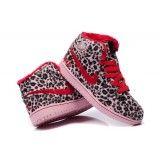 Nike Air Jordan 1 mid pelliccia di leopardo rosa rosso scarpe da uomo