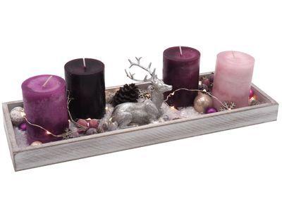 Adventsgesteck Weihnachten Weihnachtsdeko Tablett Hirsch Silber Rosa Beere Lichterkette Deko
