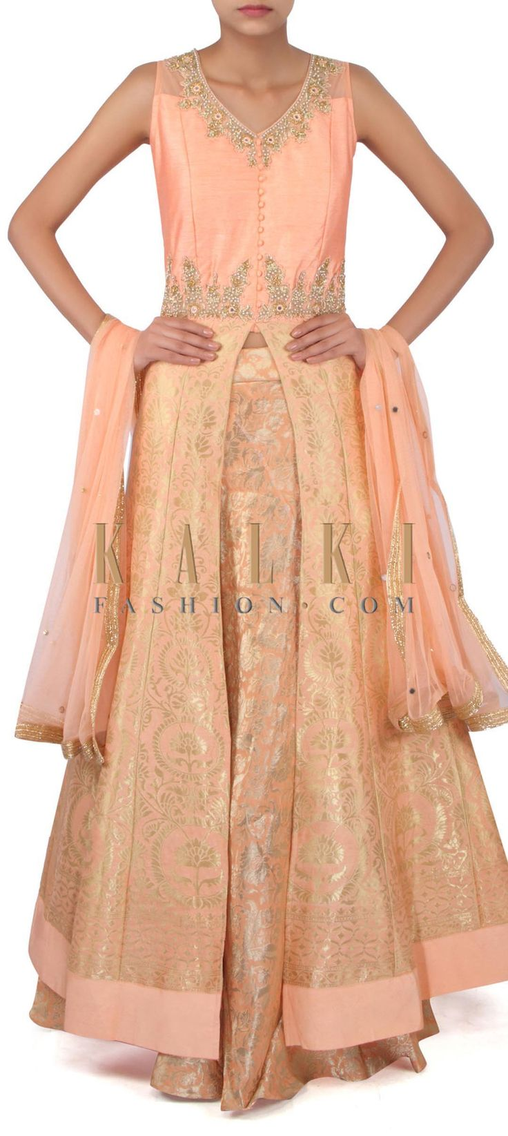 Peach brocade lehenga in embroidered bodice only on Kalki