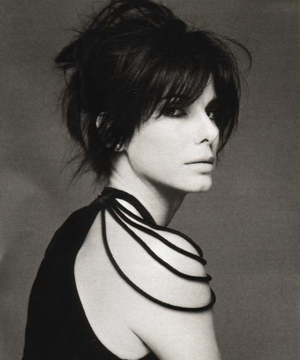 Sandra Bullock...updo with bangs.  holy hell, how do i get this look?