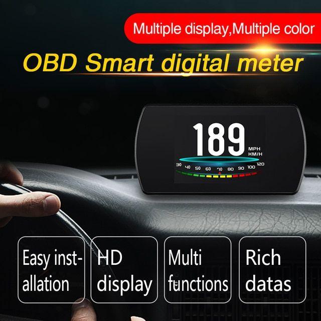 OBD2 Car HUD Head Up Display P12 Smart Digital Meter HD