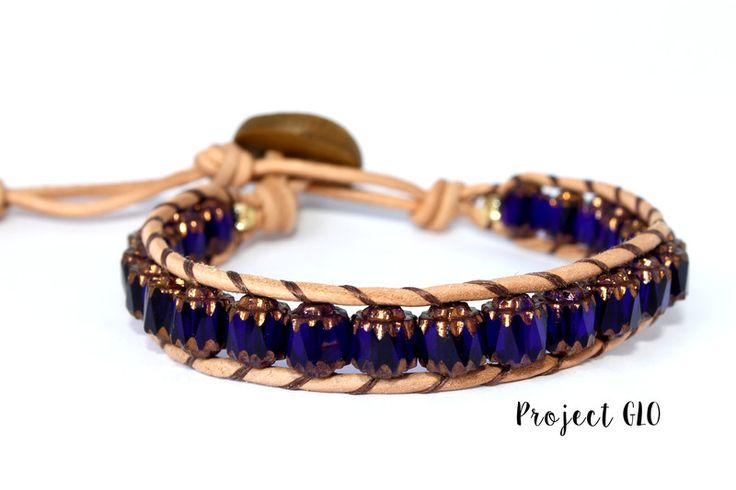 Leather Ancient Glass Beads Wrap Bracelet di Project GLO su DaWanda.com