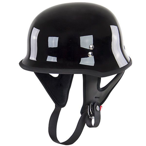 Outlaw T-75 Gloss Black Retro German Army Style Motorcycle Half Helmet Skull cap #outlaw #Motorcycle