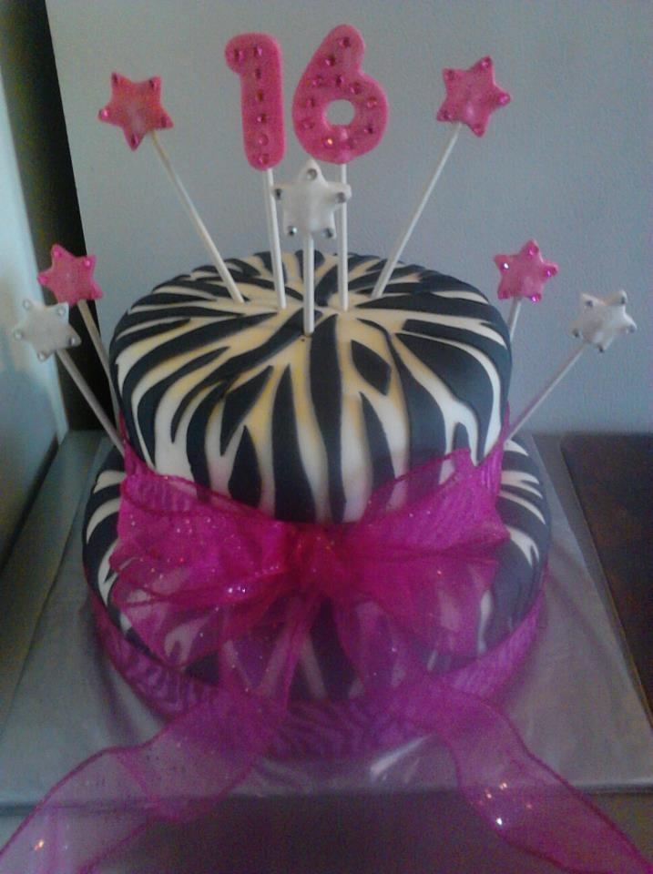 Pink Zebra Print 16th Birthday cake