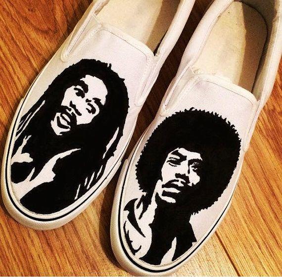 Bob Marley Jimi Hendrix Custom Shoes Canvas Shoes Birthday Gifts