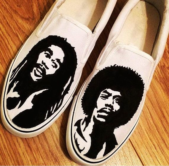 Bob Marley Jimi Hendrix Custom Shoes Canvas Shoes Birthday Gifts