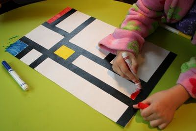 Black tape and markers or paint. Could have students cut strips of construction paper to add cutting skills. Or tape with water color paints for a different look. Based on Pete Mondrian.