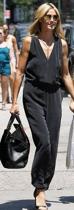 Heidi Klum, black jumpsuit