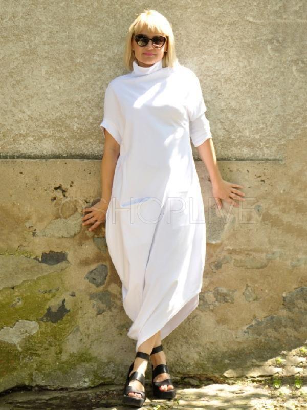 High Neck Dress Loose Dress Women White Tunic White Summer Tunic Dress Casual Tunic Plus Size Tunic Dress Asymmetric Tunic Dress