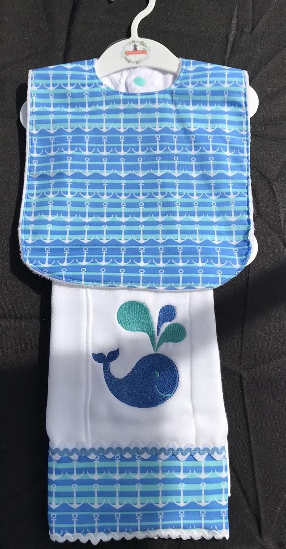New Handmade Personalized Embroidered Blue Green Minky Bib and Burp Cloth Set