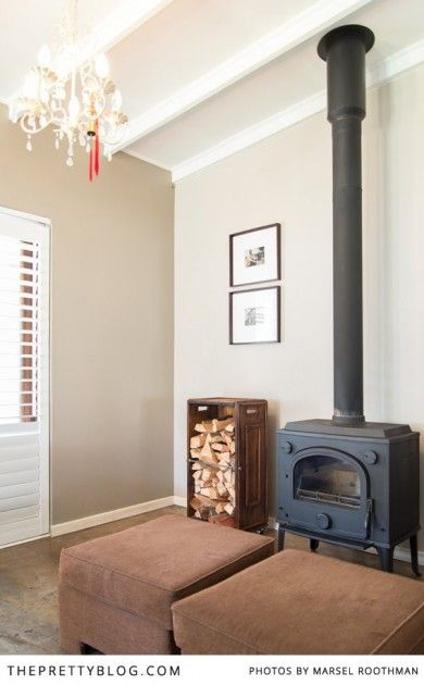 Wood burning fireplace :: Eclectic 1950's Home, JHB