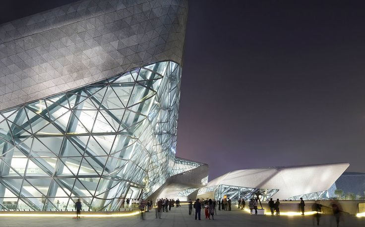 Opera HouseGuangzhouChina, Architect: Zaha Hadid, Guangzhou Opera House, Zaha Hadid Architects, Guangzhou, China, 2011 Twilight Exterior View Of Upper Entrance (Photo by View Pictures/UIG via Getty Images)
