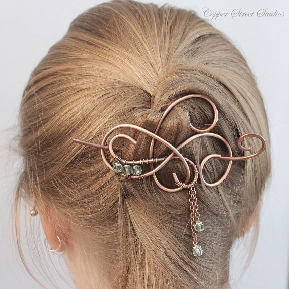 Hair Jewelry, Icy Mint Green Beaded Hair Pin, Hair Clip Women, Hair Stick, Metal Hair Slide, Hair Barrette, Copper Hair Accessories Women