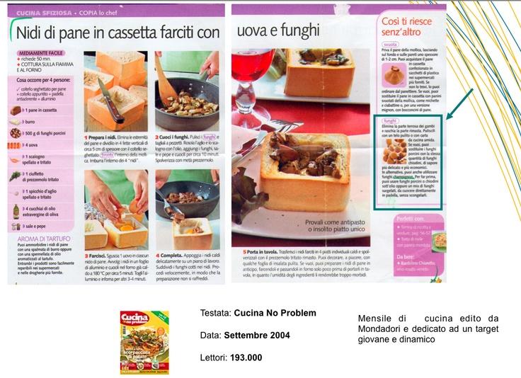 """Nidi di Pane in Cassetta faciti con Uova e Funghi - """"Cucina No Prolbem"""" Settembre 2004"""