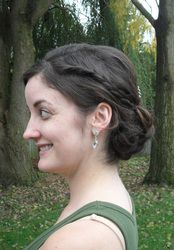 #Bridal and #bridesmaid #hairstyles by Allene Chomyn Hair Design.  Low #curls with #braid accent.