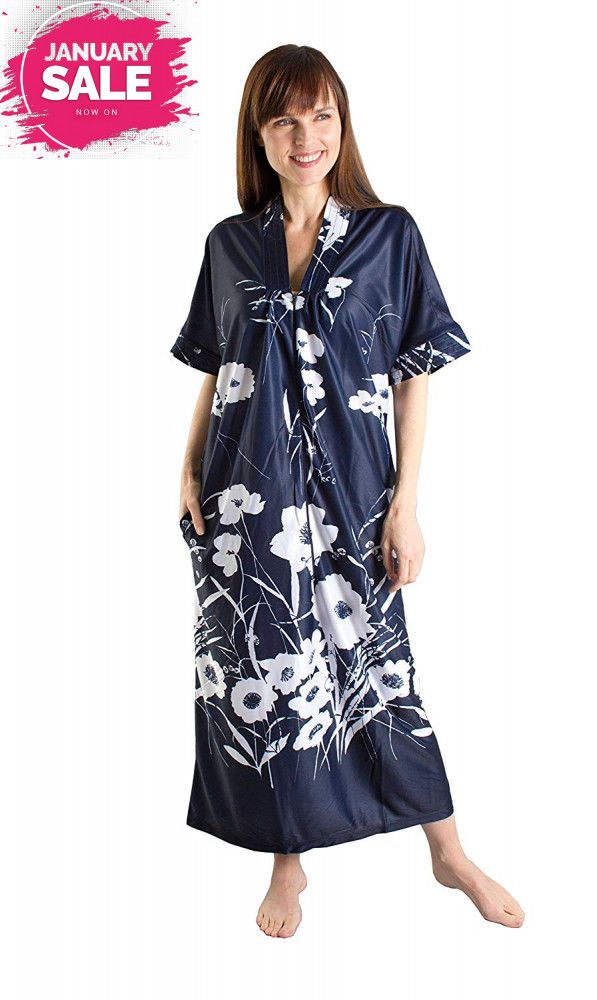 Fashion Friendly Flowing Dark Blue Kaftan With Long Front Zip