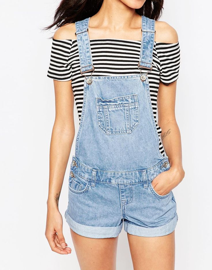 Image 3 of New Look Petite Denim Overall Short
