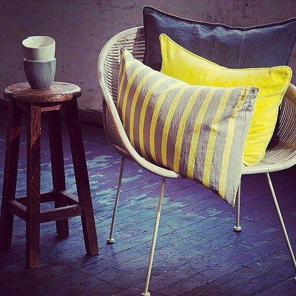 Love this combo. Urban and fresh. Yellow is happy, chic and very now.