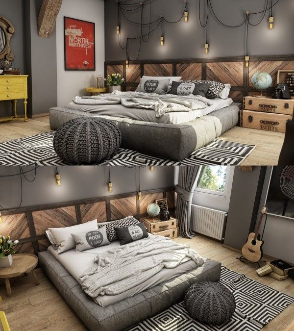 Esta habitación tiene ciertamente una personalidad inconformista con su colgando luces industriales y geométrica alfombra.