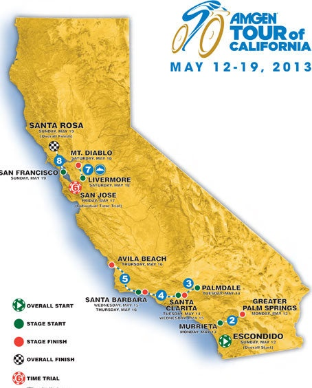 Map of the 2013 Amgen Tour of California