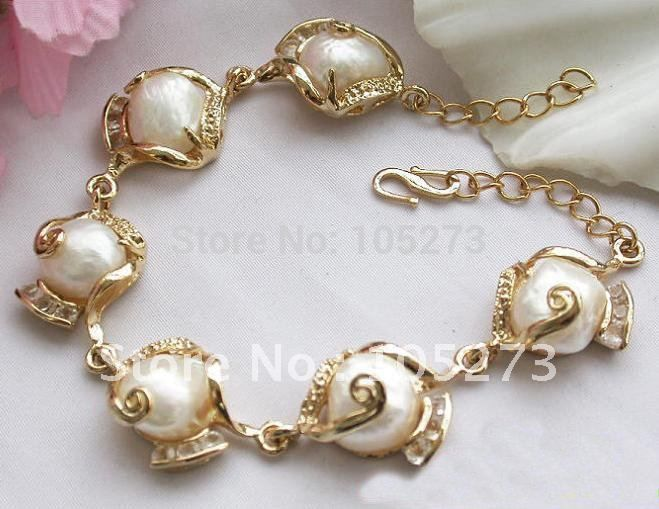 13MM BAROQUE WHITE FRESHWATER PEARL BRACELET FASHION WOMAN'S JEWELRY WHOLESALE NEW FREE SHIPPING FN1147
