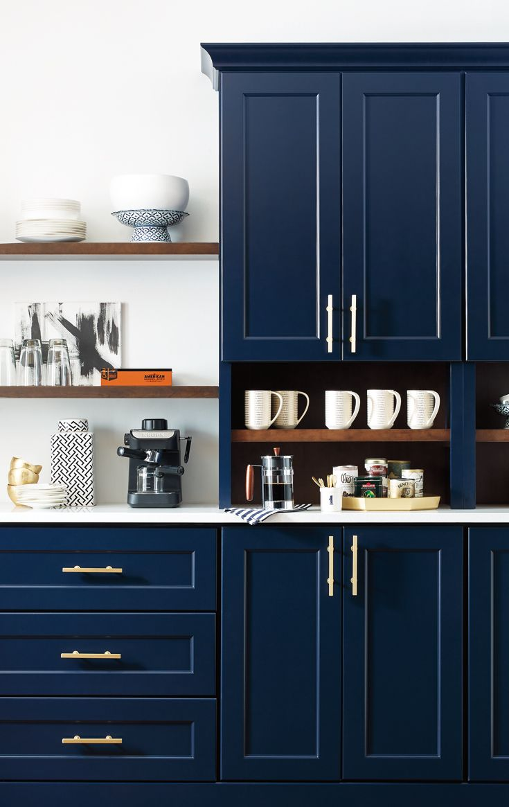 Whether You Re A Coffee Enthusiast Looking To Perk Up Your Morning Or You Want To Make Your Guests F New Kitchen Cabinets Blue Kitchen Cabinets Omega Cabinetry