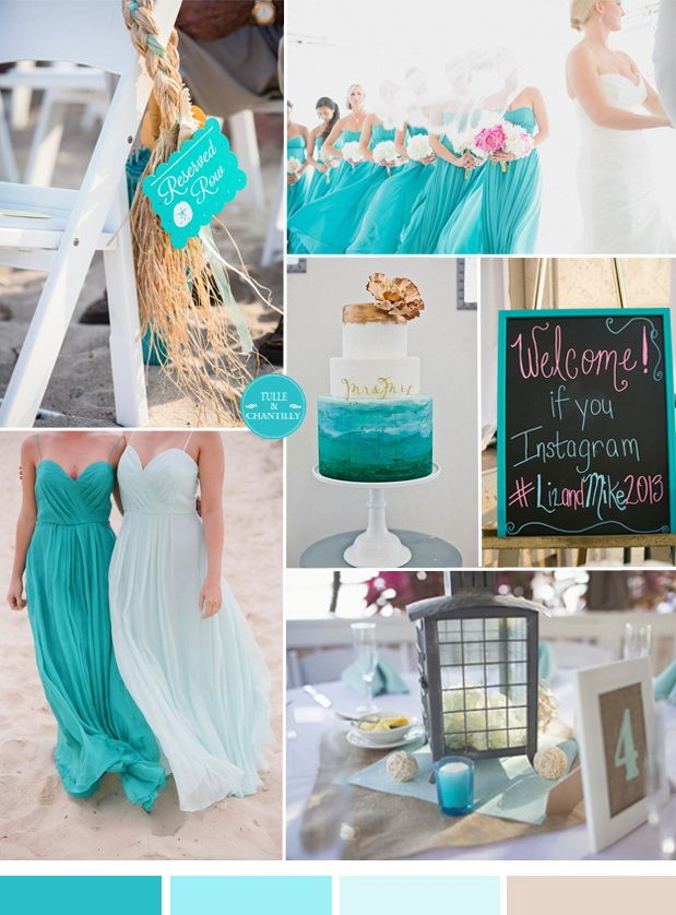 turquoise wedding color scheme for beach seaside wedding