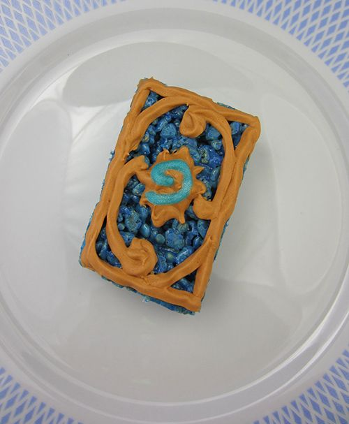 Hearthstone Rice Krispie Treats - Frosted marshmellow rice cereal treats based on the cards from Blizzard's card game Hearthstone.