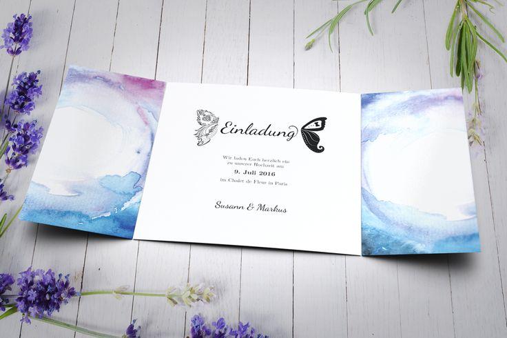 Einladungskarte Hochzeit ~ Klappkarte