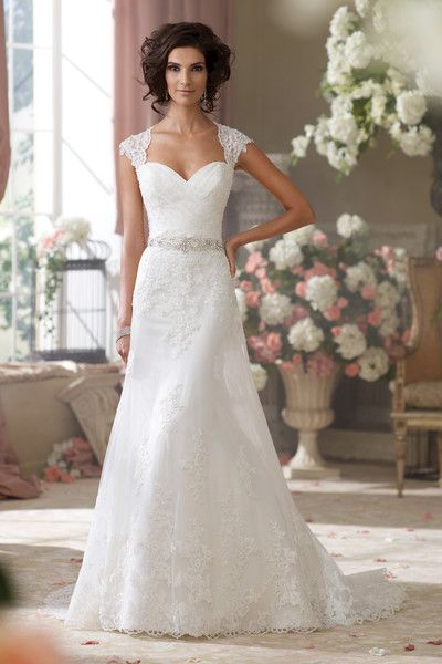 Gorgeous lace, tulle and organza over luxurious satin slim A-line wedding dress! {David Tutera for Mon Cheri}