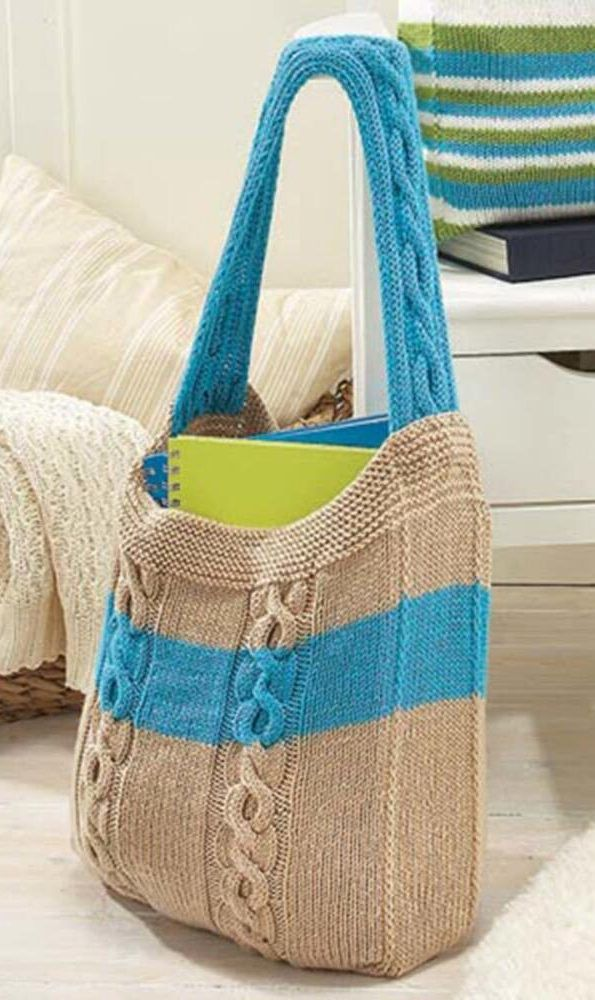 Free Knitting Pattern for Cable Bag - This tote by Willow Yarns features cables on the strap and bag. Finished Measurements: Width: 12″ (30cm) Height: 15″ (38cm) Depth: 3″ (7.6cm).