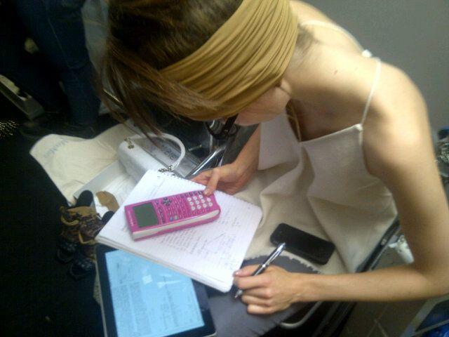 Backstage at Maxmara, maths homework