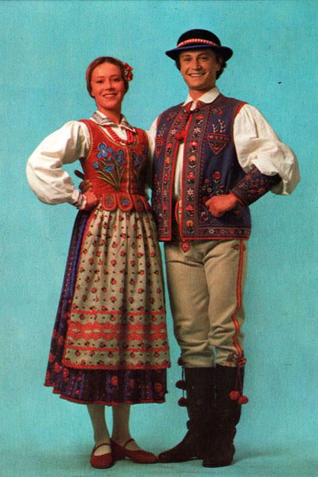 Folk costume from Szczawnica, Poland, vintage postcard.