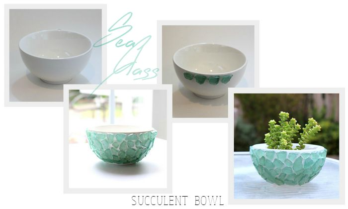 Quick and easy Sea Glass Succulent Bowl - glue sea glass to small bowl