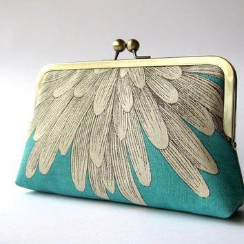 Chrysanthemum  silk lined aqua floral clutch, Bag Noir, Bridesmaid clutch, Weddings bride formal clutch purse